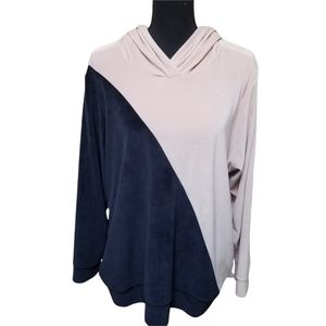 Torrid Blue & Pink Hooded Velour Sweatshirt Size 3